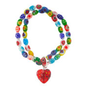 Multicolor Glass Stone Double Row Stretch Bracelet