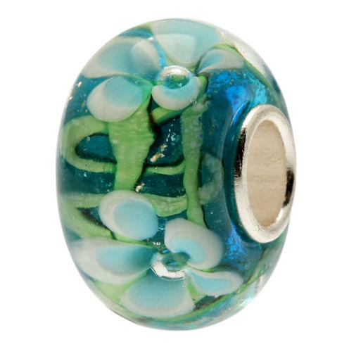 Forever Moments™ Turquoise Flowers Glass Charm Bracelet Bead