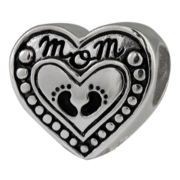 Forever Moments™ Oxidized Mom Footprints Charm Bracelet Bead