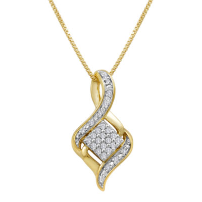 1/10 CT. T.W. Diamond Cluster Pendant Necklace