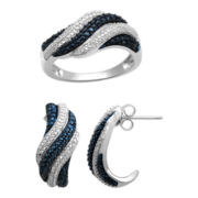 1/10 CT. T.W. Blue & White Diamond Boxed Wave Ring & Earring Set