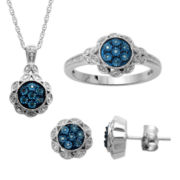1/10 CT. T.W. Blue & White Diamond Sterling Silver 3-pc. Boxed Jewelry Set