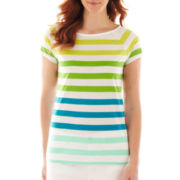 Liz Claiborne Short-Sleeve Ballet-Neck Striped Tee