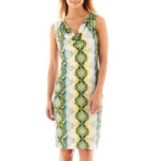 Worthington® Sleeveless Print Drape-Neck Dress