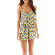 City Triangles® Belted Chevron Print Romper