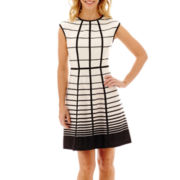 Studio 1® Cap-Sleeve Techno Striped Fit-and-Flare Dress