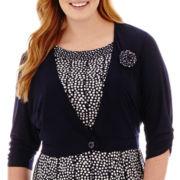 Perceptions 3/4-Sleeve Knit Jacket Dress - Plus
