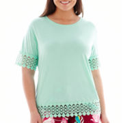 Stylus™ Short-Sleeve Crochet Lace-Trim T-Shirt - Plus