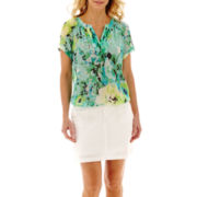 St. John's Bay® V-Neck Peasant Top or Twill Skort