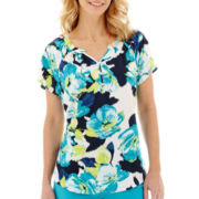 St. John's Bay® Short-Sleeve Henley Peasant Top