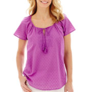 St. John's Bay® Short-Sleeve Clip Dot Embroidered Peasant Top