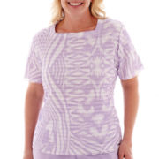 Alfred Dunner® Shaker Heights Short-Sleeve Watercolor Ruffle Top - Plus