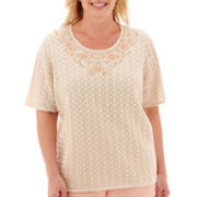 Alfred Dunner® Short-Sleeve Beaded Pointelle Sweater Shell - Plus