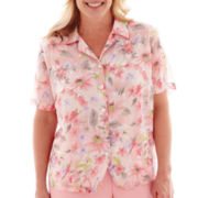 Alfred Dunner® Sweet Melody Short-Sleeve Button-Front Floral Blouse - Plus