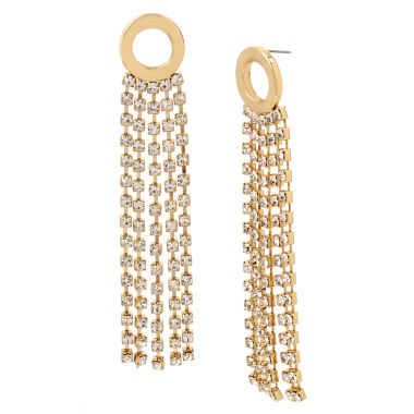 jcpenney.com | Worthington Circle Rhinestone Chain Drop Earrings