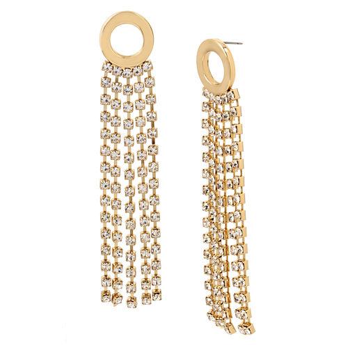 Worthington Circle Rhinestone Chain Drop Earrings