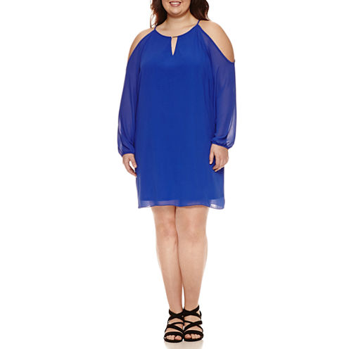by&by Long Sleeve A-Line Dress-Juniors Plus