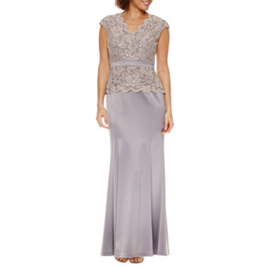 jcpenney.com | Melrose Short Sleeve Lace Evening Gown-Petites