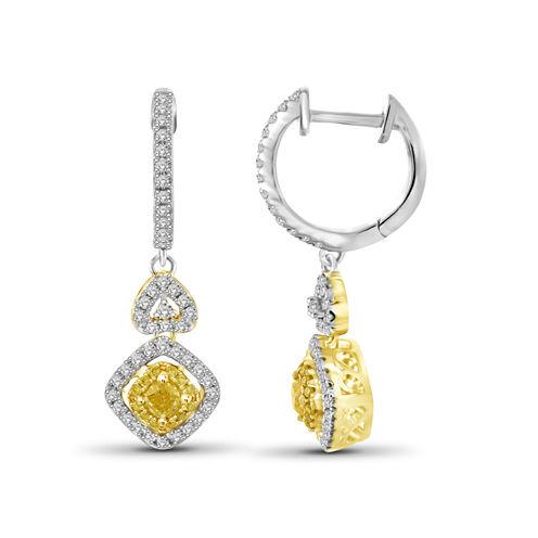 1 CT. T.W. Yellow Diamond 14K Gold Drop Earrings