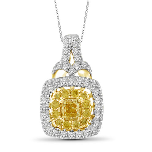 Womens 3/4 CT. T.W. Yellow Diamond 14K Gold Pendant Necklace