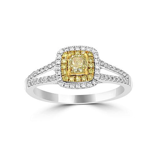 Womens 3/4 CT. T.W. Yellow Diamond 14K Gold Halo Ring
