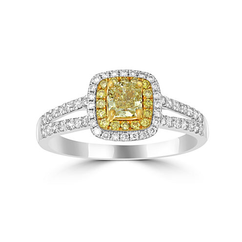 Womens 1 CT. T.W. Color Enhanced Yellow Diamond 14K Gold Halo Ring