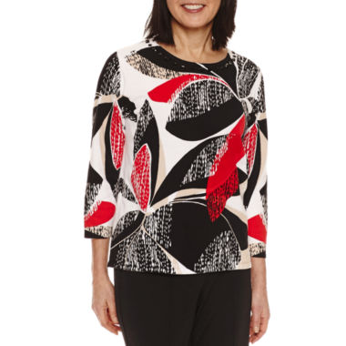jcpenney.com | Alfred Dunner 3/4 Sleeve Crew Neck Pullover Sweater