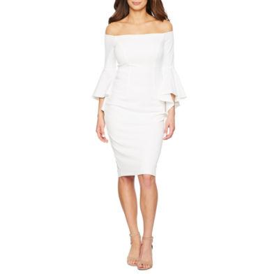 Premier Amour 3/4 Sleeve Off The Shoulder Sheath Dress by Premier Amour
