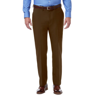 Essentials Mens Expandable Waist Classic-Fit Flat-Front Dress Pants,