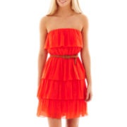 by&by Strapless Ruffle Dress