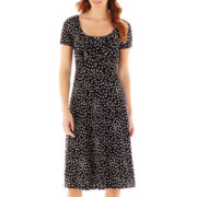Danny & Nicole® Short-Sleeve Polka Dot Fit-and-Flare Dress