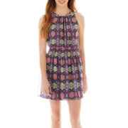 Olsenboye® Sleeveless Smocked-Waist Print Dress