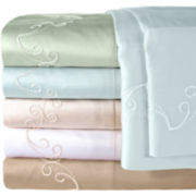 American Heritage 300tc Egyptian Cotton Sateen Embroidered Scroll Sheet Set