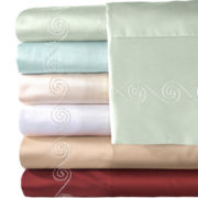 American Heritage 500tc Egyptian Cotton Sateen Embroidered Swirl Sheet Set