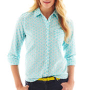jcp™ Long-Sleeve Button-Front Eyelet Shirt
