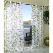 Escape Leaf Grommet-Top Outdoor Curtain Panel
