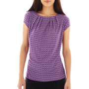 Liz Claiborne Pleated Extended-Shoulder Top - Petite