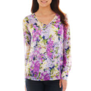 Liz Claiborne® Long-Sleeve Garden Floral Blouse with Cami