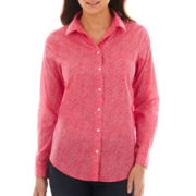 Liz Claiborne Long-Sleeve Tiny Floral Button-Front Shirt