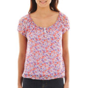 Liz Claiborne Cap-Sleeve Peasant Top with Cami