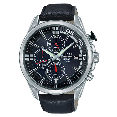 Pulsar Mens Black Strap Watch-Pz6023