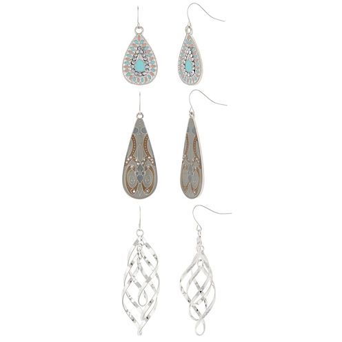 Decree® Pastel 3-pr. Silver-Tone Earring Set