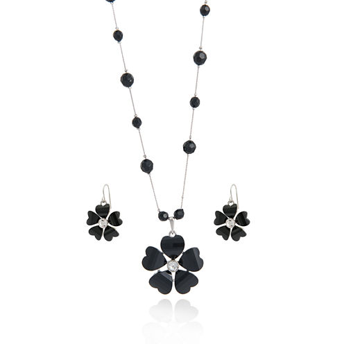 Mixit™ Black Flower Silver-Tone Earring and Necklace Set