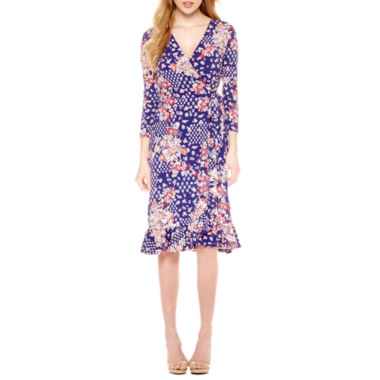 jcpenney.com | Weslee Rose 3/4 Sleeve Wrap Dress