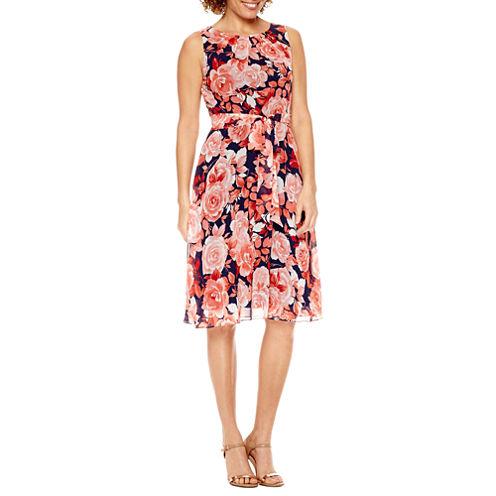 R & K Originals Sleeveless Fit & Flare Dress-Petites