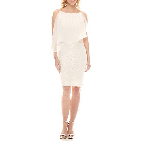 Scarlett Embellished Cape Sheath Dress