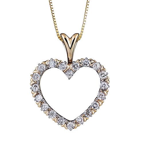 Womens 1/2 CT. T.W. White Diamond 10K Gold Pendant Necklace