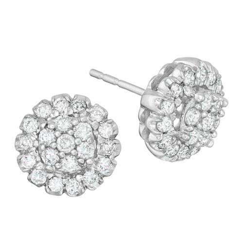 Diamond Blossom 3/4 CT. T.W. Round White Diamond 14K Gold Stud Earrings