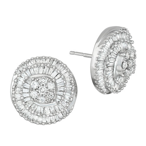 1 CT. T.W. White Diamond 10K Gold Stud Earrings