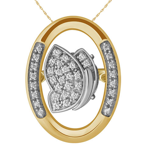 Love in Motion Diamond Accent 18K Gold Over Silver Butterfly Pendant Necklace